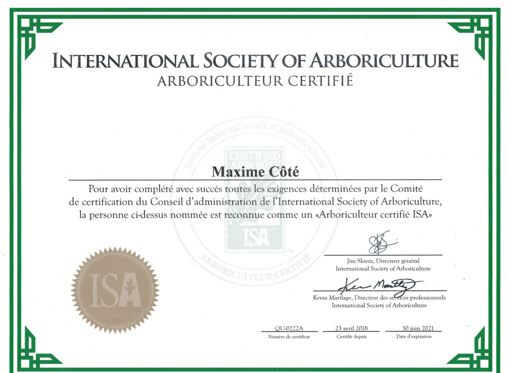 Certification arboriculteur Maxime Côté